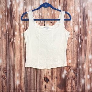 CAbi Cream Lace Cropped Tank Top Corset Style Med